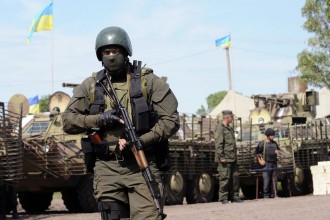 Ukrainian servicemen are pictured at the military camp near the town of Svyatogorsk