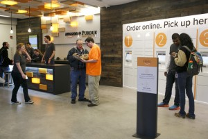 Amazon staff helps students at Purdue campus location