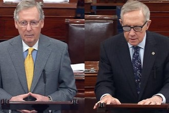 Senate Majority Leader Mitch McConnell (R-KY) and Senate Minority Leader Harry Reid (D-NV) Source: C-Span